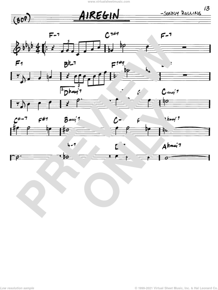 Airegin sheet music for voice and other instruments (in C) by John Coltrane and Sonny Rollins, intermediate skill level