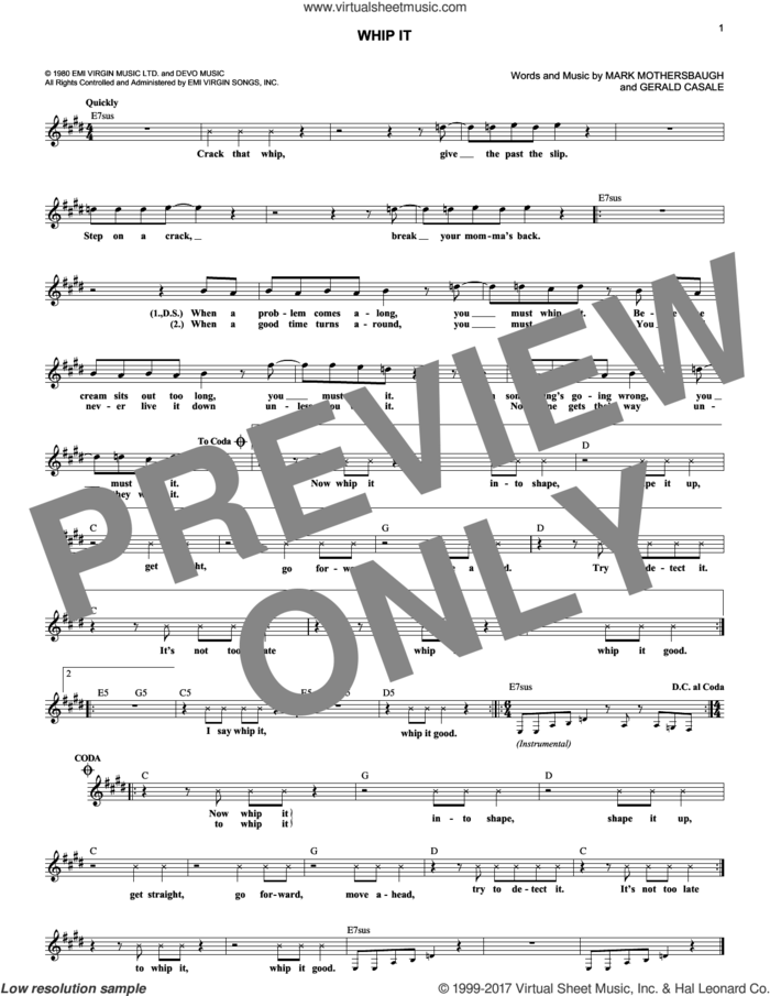 Whip It sheet music for voice and other instruments (fake book) by Devo, Gerald Casale and Mark Mothersbaugh, intermediate skill level