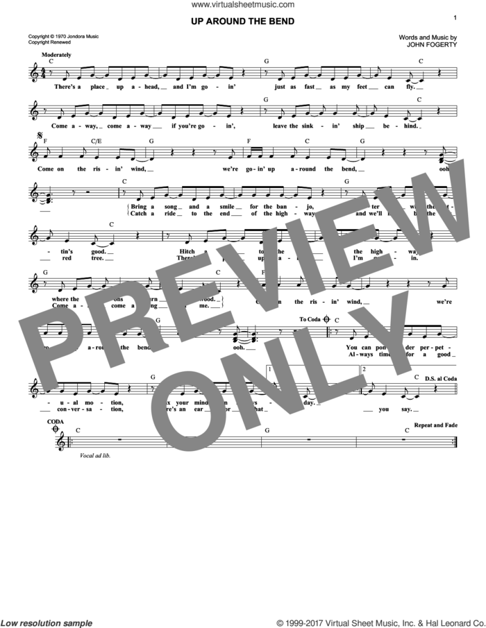 Up Around The Bend sheet music for voice and other instruments (fake book) by Creedence Clearwater Revival and John Fogerty, intermediate skill level