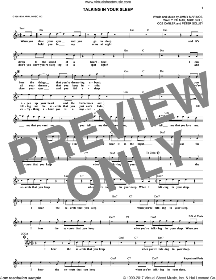 Talking In Your Sleep sheet music for voice and other instruments (fake book) by The Romantics, Coz Canler, Jimmy Marinos, Mike Skill, Peter Solley and Wally Palmar, intermediate skill level