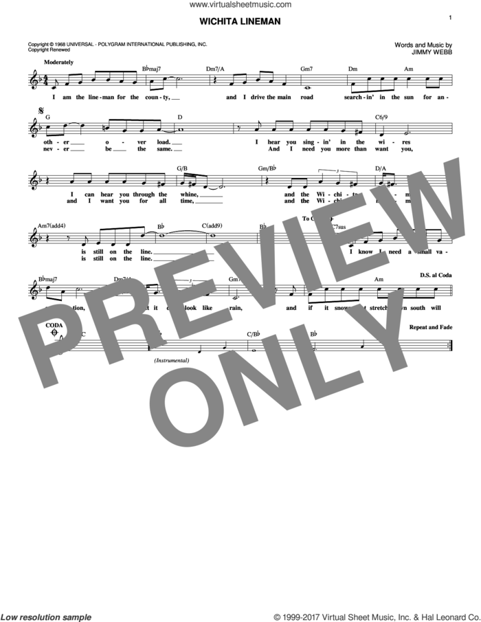 Wichita Lineman sheet music for voice and other instruments (fake book) by Glen Campbell, Wade Hayes and Jimmy Webb, intermediate skill level