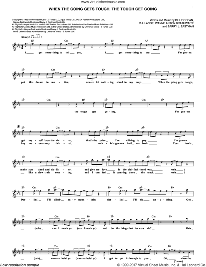When The Going Gets Tough, The Tough Get Going sheet music for voice and other instruments (fake book) by Billy Ocean, Barry Eastmond, Robert John Lange and Wayne Brathwaite, intermediate skill level