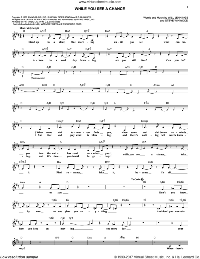 While You See A Chance sheet music for voice and other instruments (fake book) by Steve Winwood and Will Jennings, intermediate skill level
