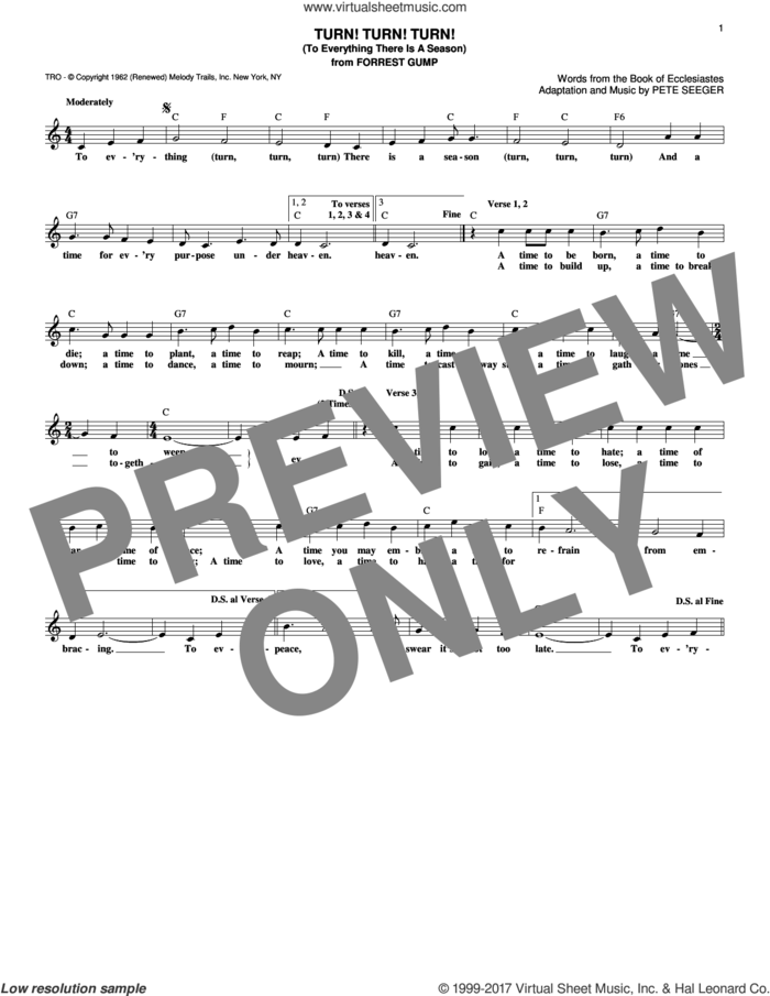 Turn! Turn! Turn! (To Everything There Is A Season) sheet music for voice and other instruments (fake book) by The Byrds, Book of Ecclesiastes and Pete Seeger, intermediate skill level