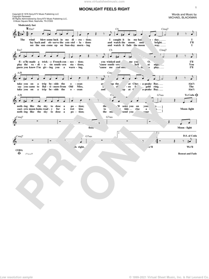 Moonlight Feels Right sheet music for voice and other instruments (fake book) by Starbuck and Michael Blackman, intermediate skill level