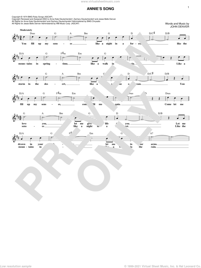 Annie's Song sheet music for voice and other instruments (fake book) by John Denver, intermediate skill level
