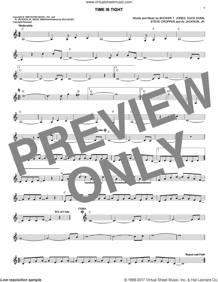 Time Is Tight sheet music for voice and other instruments (fake book) by Booker T. & The MG's, Al Jackson, Jr., Booker T. Jones, Duck Dunn and Steve Cropper, intermediate skill level