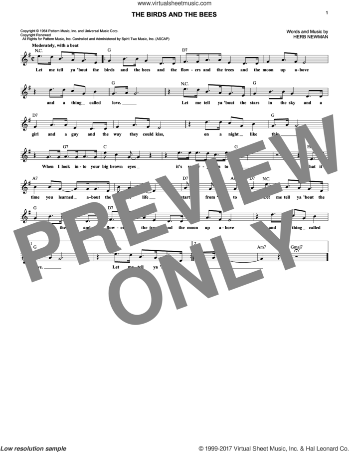 The Birds And The Bees sheet music for voice and other instruments (fake book) by Jewel Akens and Herb Newman, intermediate skill level