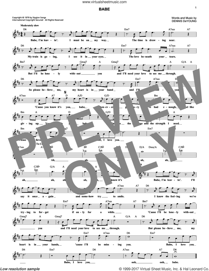 Babe sheet music for voice and other instruments (fake book) by Styx and Dennis DeYoung, intermediate skill level