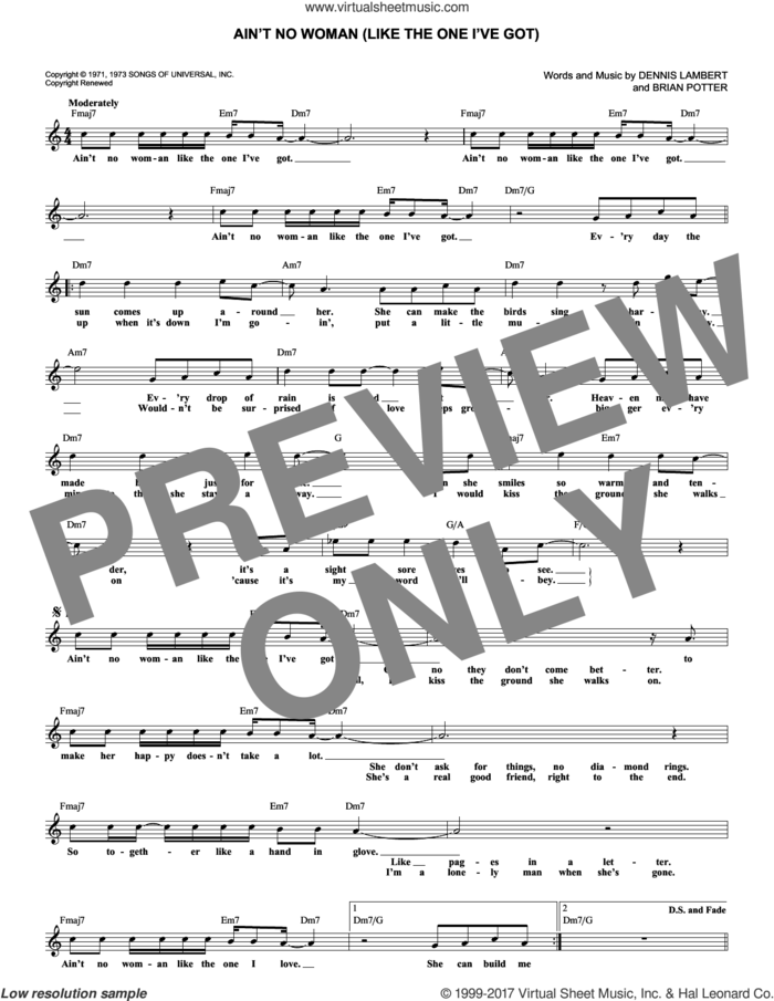Ain't No Woman (Like The One I've Got) sheet music for voice and other instruments (fake book) by The Four Tops, Brian Potter and Dennis Lambert, intermediate skill level