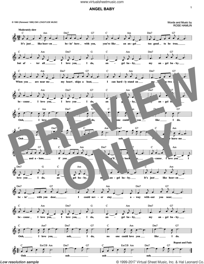Angel Baby sheet music for voice and other instruments (fake book) by Rosie & The Originals and Rose Hamlin, intermediate skill level