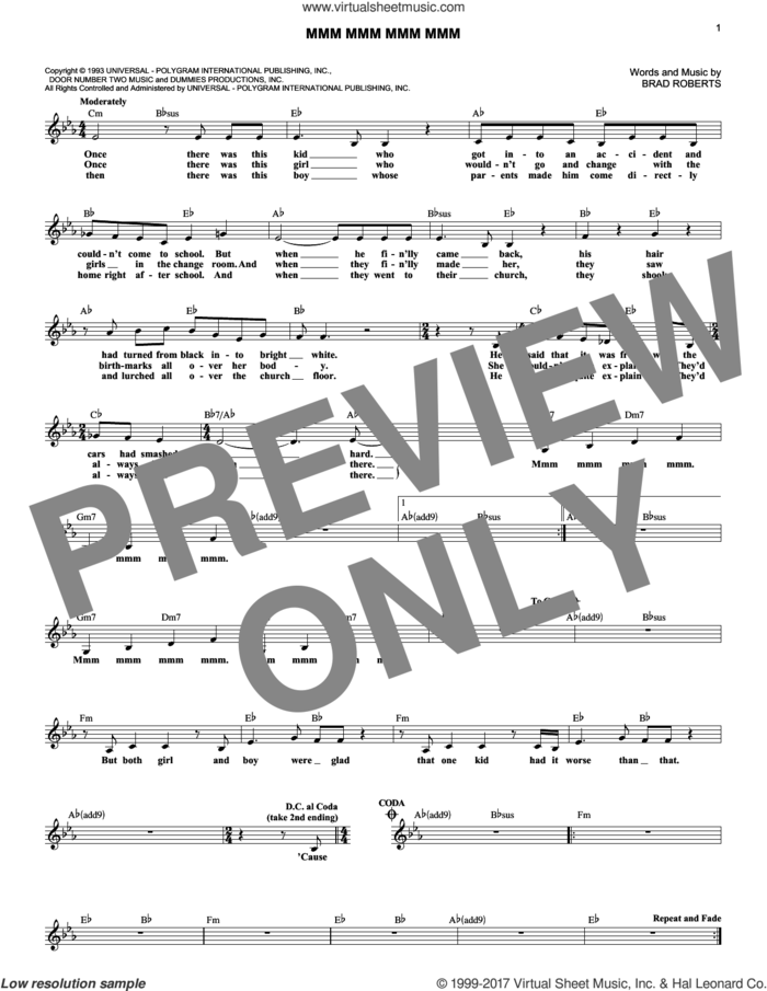 Mmm Mmm Mmm Mmm sheet music for voice and other instruments (fake book) by Crash Test Dummies and Brad Roberts, intermediate skill level