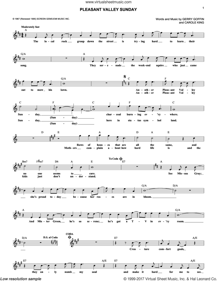 Pleasant Valley Sunday sheet music for voice and other instruments (fake book) by The Monkees, Carole King and Gerry Goffin, intermediate skill level