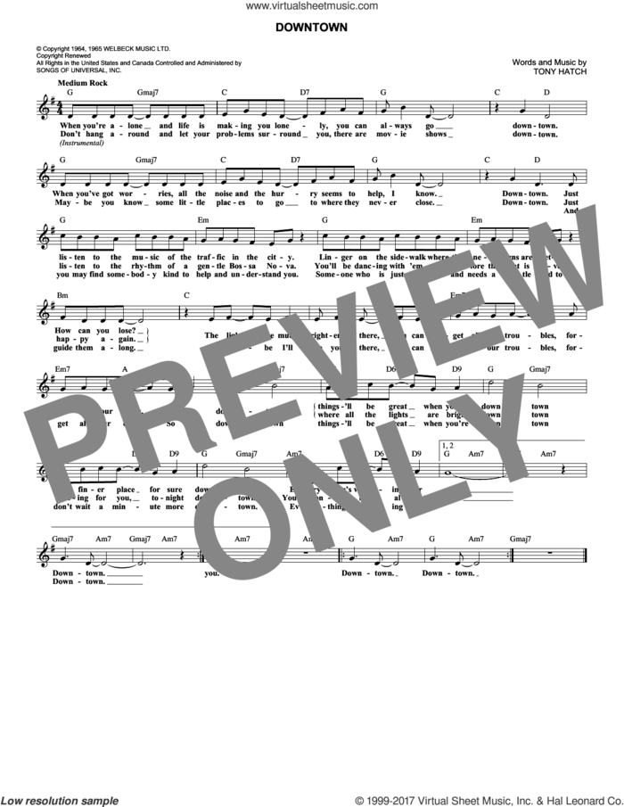 Downtown sheet music for voice and other instruments (fake book) by Petula Clark and Tony Hatch, intermediate skill level