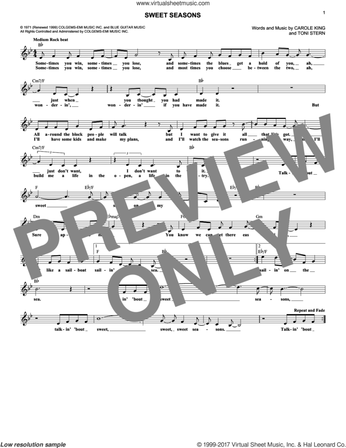 Sweet Seasons sheet music for voice and other instruments (fake book) by Carole King and Toni Stern, intermediate skill level