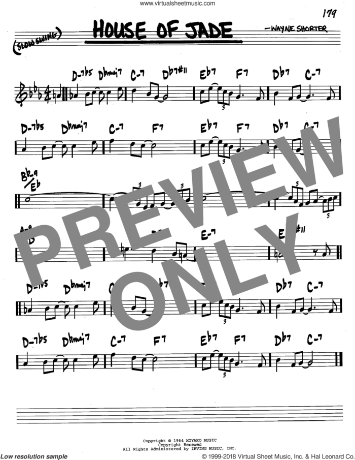 House Of Jade sheet music for voice and other instruments (in C) by Wayne Shorter, intermediate skill level