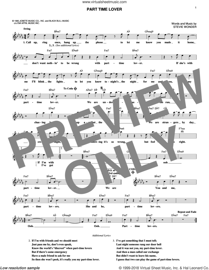 Part Time Lover sheet music for voice and other instruments (fake book) by Stevie Wonder, intermediate skill level