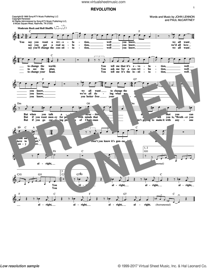 Revolution sheet music for voice and other instruments (fake book) by The Beatles, John Lennon and Paul McCartney, intermediate skill level