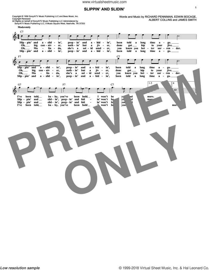 Slippin' And Slidin' sheet music for voice and other instruments (fake book) by Little Richard, Albert Collins, Edwin Bocage, James Smith and Richard Penniman, intermediate skill level
