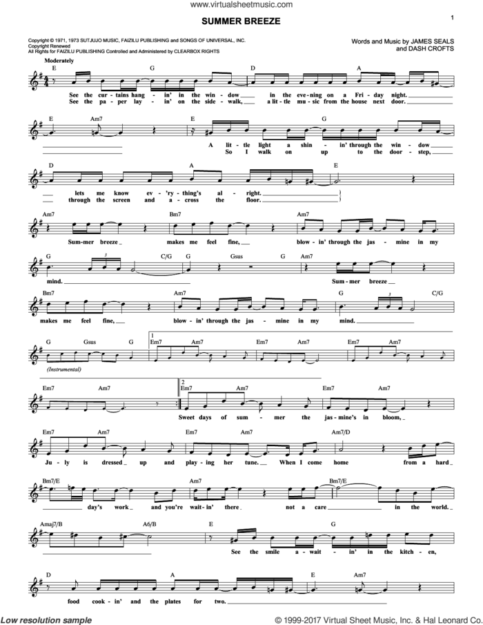 Summer Breeze sheet music for voice and other instruments (fake book) by Seals & Crofts, Dash Crofts and James Seals, intermediate skill level