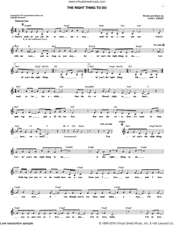The Right Thing To Do sheet music for voice and other instruments (fake book) by Carly Simon, intermediate skill level