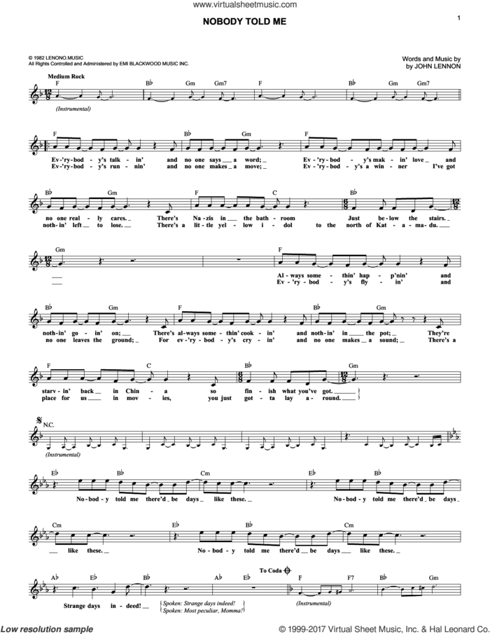 Nobody Told Me sheet music for voice and other instruments (fake book) by John Lennon, intermediate skill level