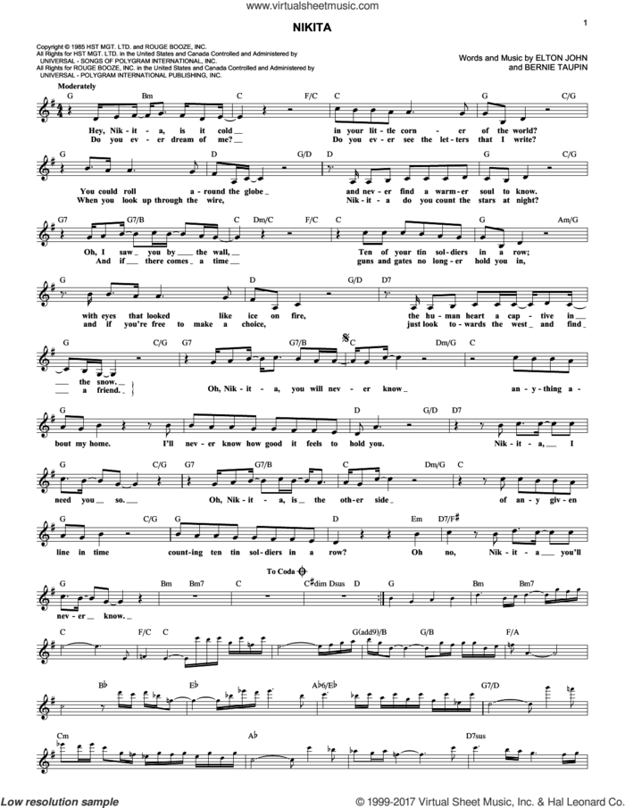 Nikita sheet music for voice and other instruments (fake book) by Elton John and Bernie Taupin, intermediate skill level