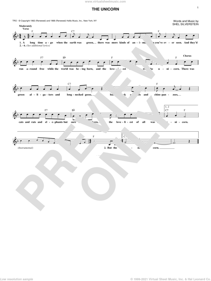 The Unicorn sheet music for voice and other instruments (fake book) by Irish Rovers and Shel Silverstein, intermediate skill level