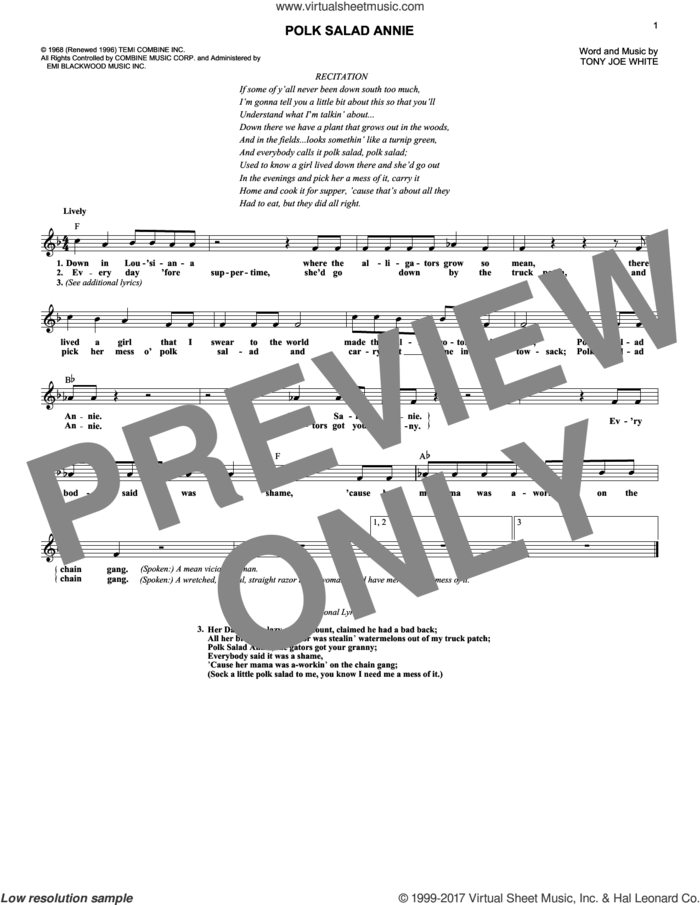 Polk Salad Annie sheet music for voice and other instruments (fake book) by Elvis Presley and Tony Joe White, intermediate skill level