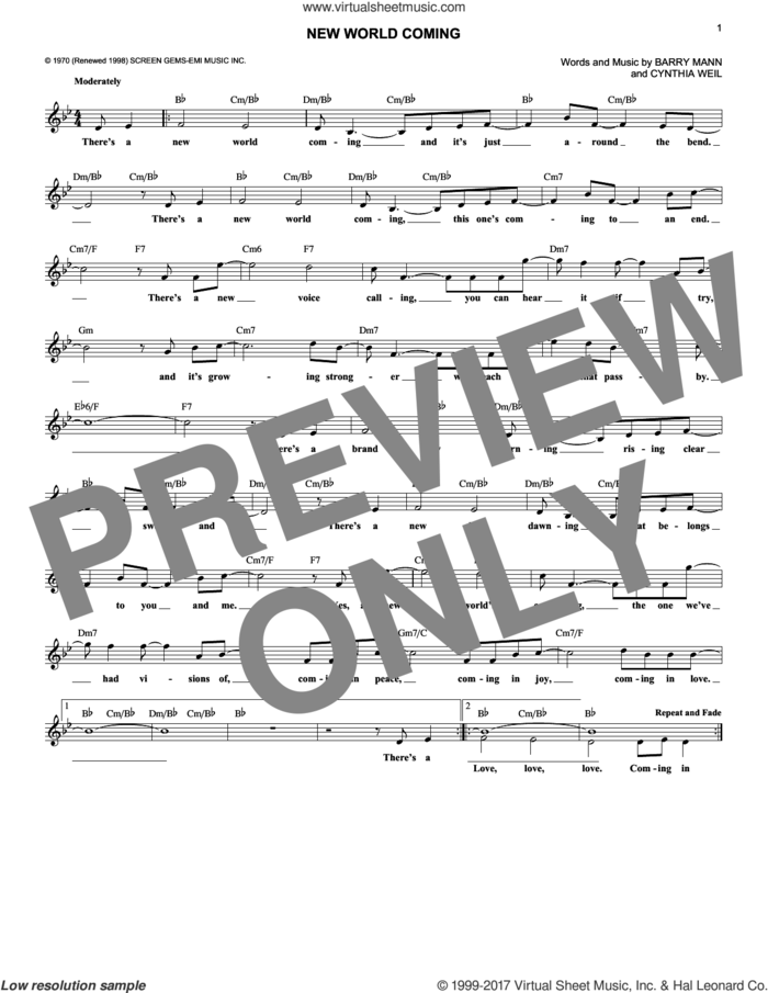 New World Coming sheet music for voice and other instruments (fake book) by Mama Cass Elliot, Barry Mann and Cynthia Weil, intermediate skill level