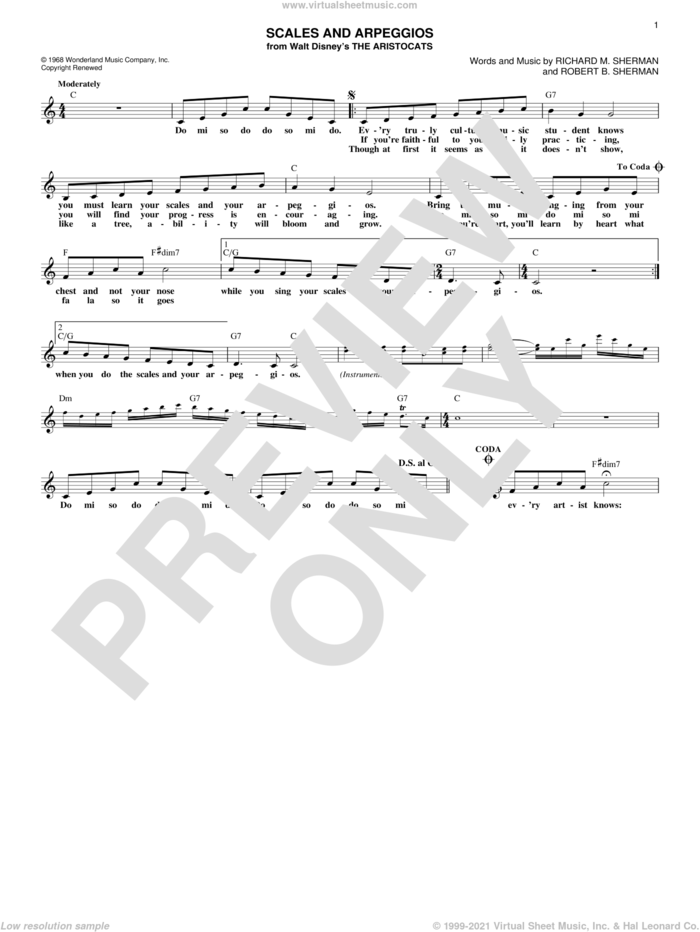 Scales And Arpeggios sheet music for voice and other instruments (fake book) by Richard M. Sherman and Robert B. Sherman, intermediate skill level