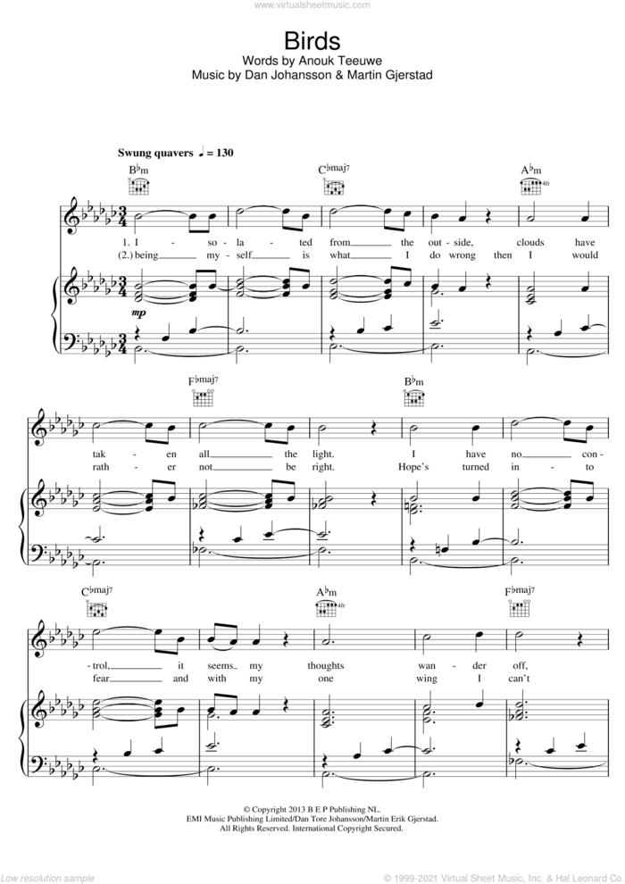 Birds sheet music for voice, piano or guitar by Anouk, Dan Johansson and Martin Gjerstad, intermediate skill level
