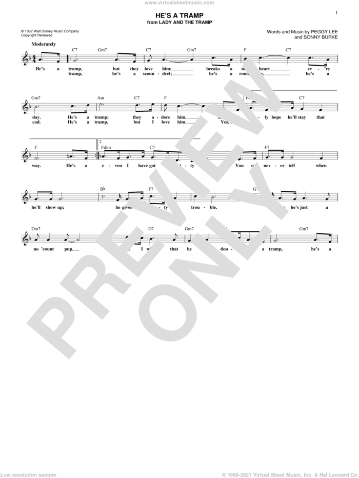 He's A Tramp (from Lady And The Tramp) sheet music for voice and other instruments (fake book) by Peggy Lee and Sonny Burke, intermediate skill level