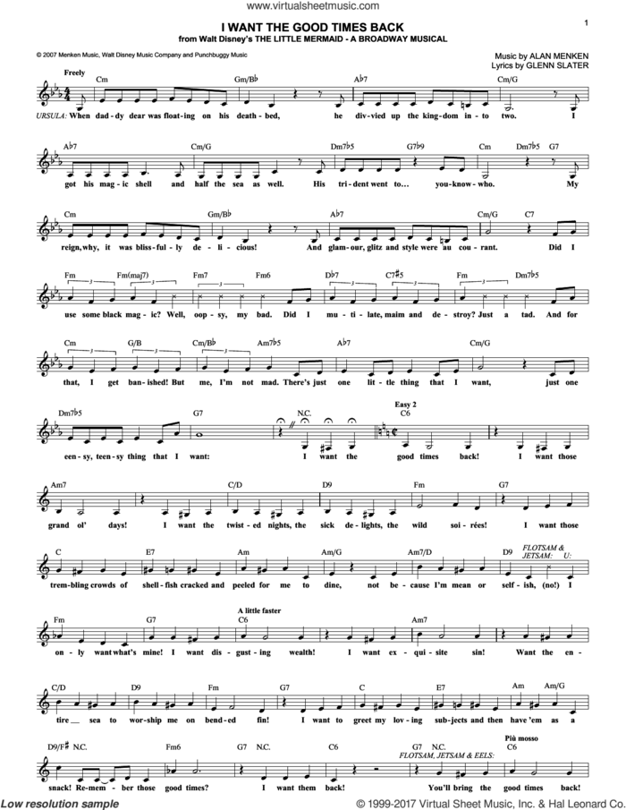 I Want The Good Times Back sheet music for voice and other instruments (fake book) by Glenn Slater and Alan Menken, intermediate skill level