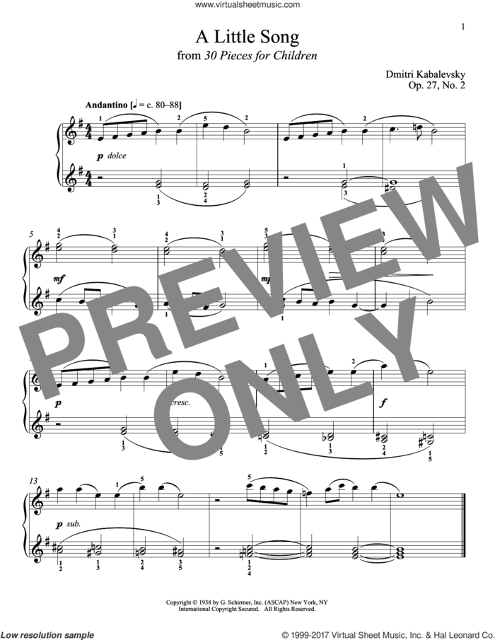 A Little Song, Op. 27, No. 2 sheet music for piano solo by Dmitri Kabalevsky, Jeffrey Biegel, Margaret Otwell and Richard Walters, classical score, intermediate skill level