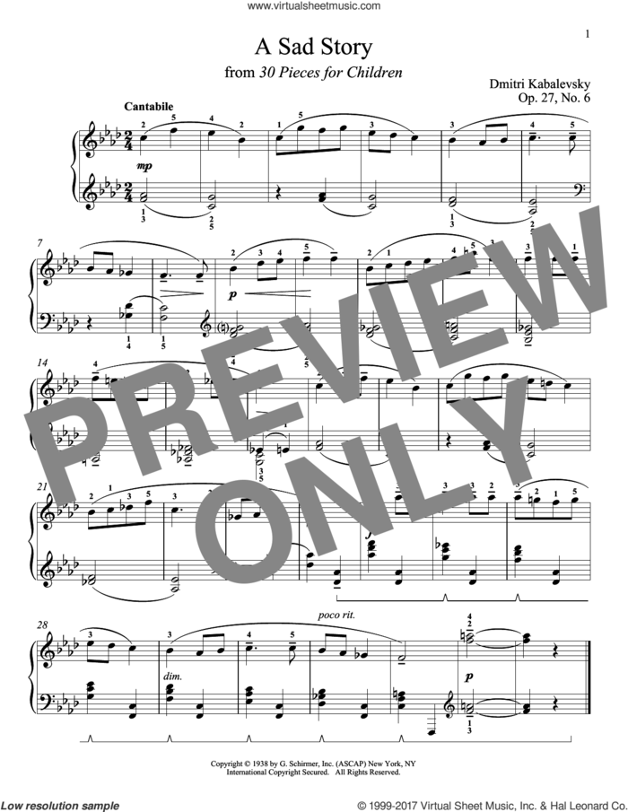 A Sad Story, Op. 27, No. 6 sheet music for piano solo by Dmitri Kabalevsky, Jeffrey Biegel, Margaret Otwell and Richard Walters, classical score, intermediate skill level