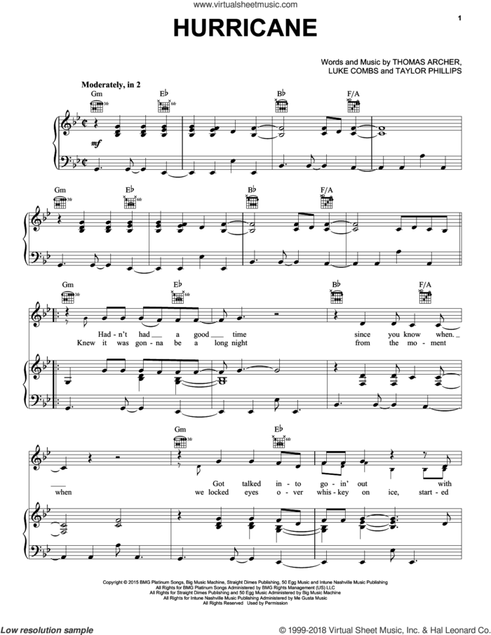 Hurricane sheet music for voice, piano or guitar by Luke Combs, Taylor Phillips and Thomas Marc Archer, intermediate skill level