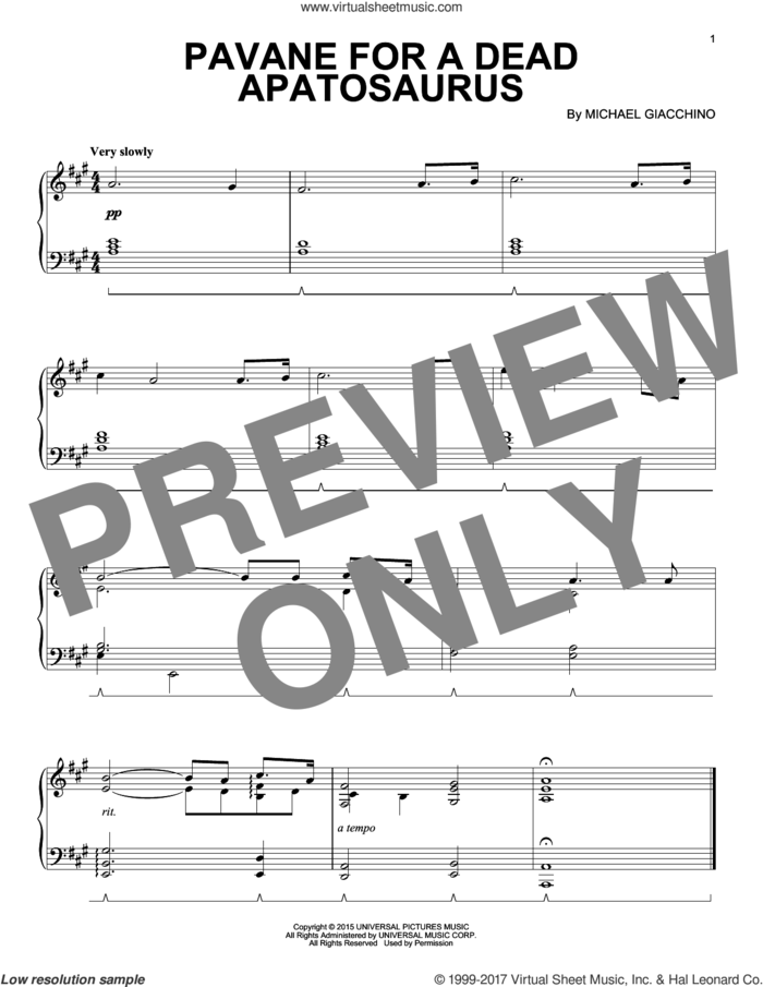 Pavane For A Dead Apatosaurus sheet music for piano solo by Michael Giacchino, intermediate skill level