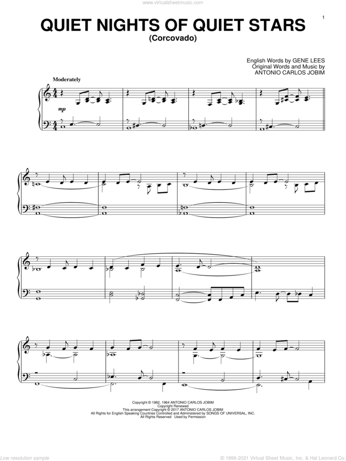 Quiet Nights Of Quiet Stars (Corcovado) sheet music for piano solo by Antonio Carlos Jobim and Eugene John Lees, intermediate skill level
