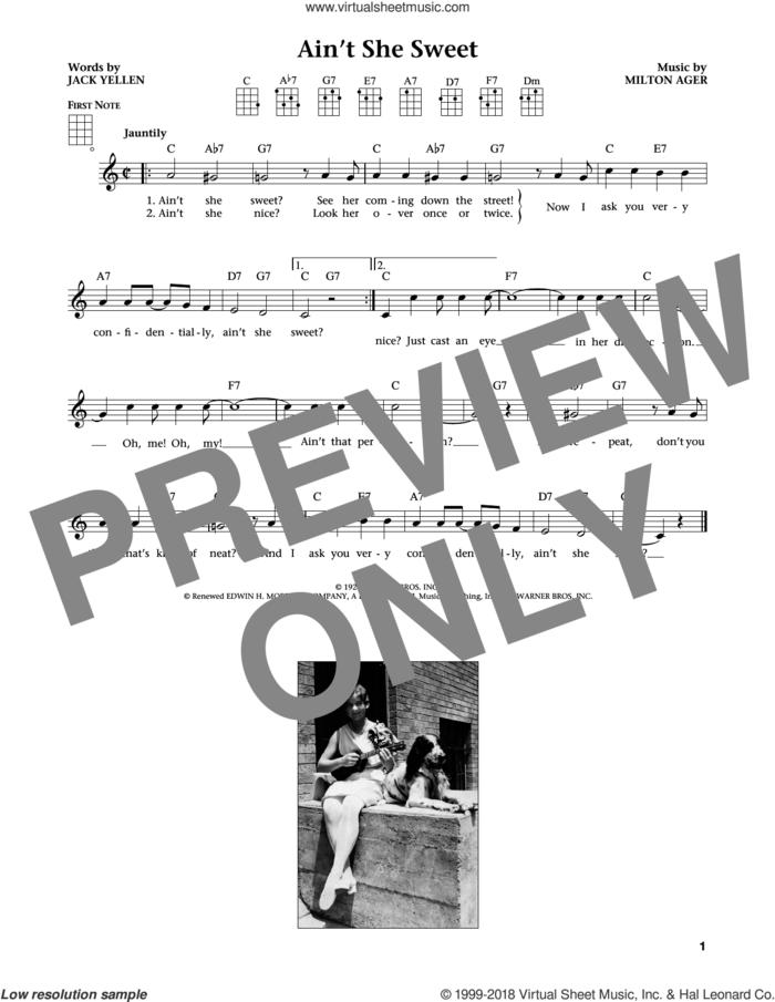 Ain't She Sweet (from The Daily Ukulele) (arr. Liz and Jim Beloff) sheet music for ukulele by The Beatles, Jim Beloff, Liz Beloff, Jack Yellen and Milton Ager, intermediate skill level