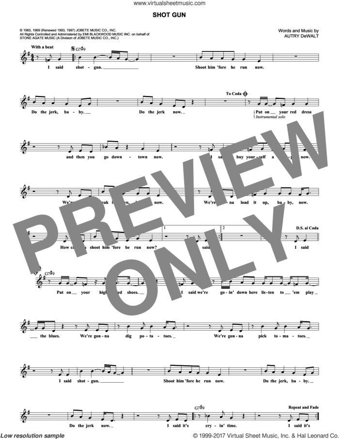 Shotgun sheet music for voice and other instruments (fake book) by Junior Walker & the All-Stars, Vanilla Fudge and Autry DeWalt, intermediate skill level
