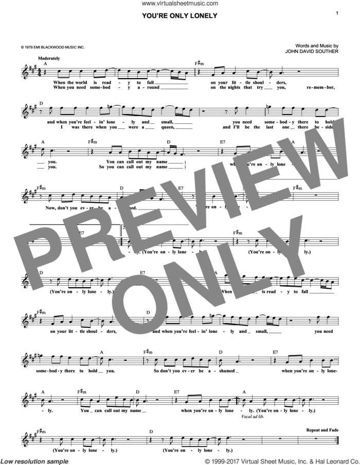 You're Only Lonely sheet music for voice and other instruments (fake book) by John David Souther, intermediate skill level