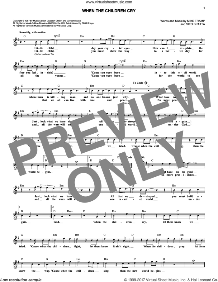 When The Children Cry sheet music for voice and other instruments (fake book) by White Lion, Mike Tramp and Vito Bratta, intermediate skill level