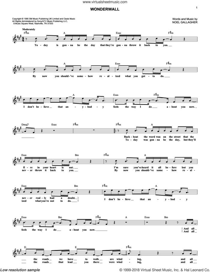 Wonderwall sheet music for voice and other instruments (fake book) by Oasis and Noel Gallagher, intermediate skill level