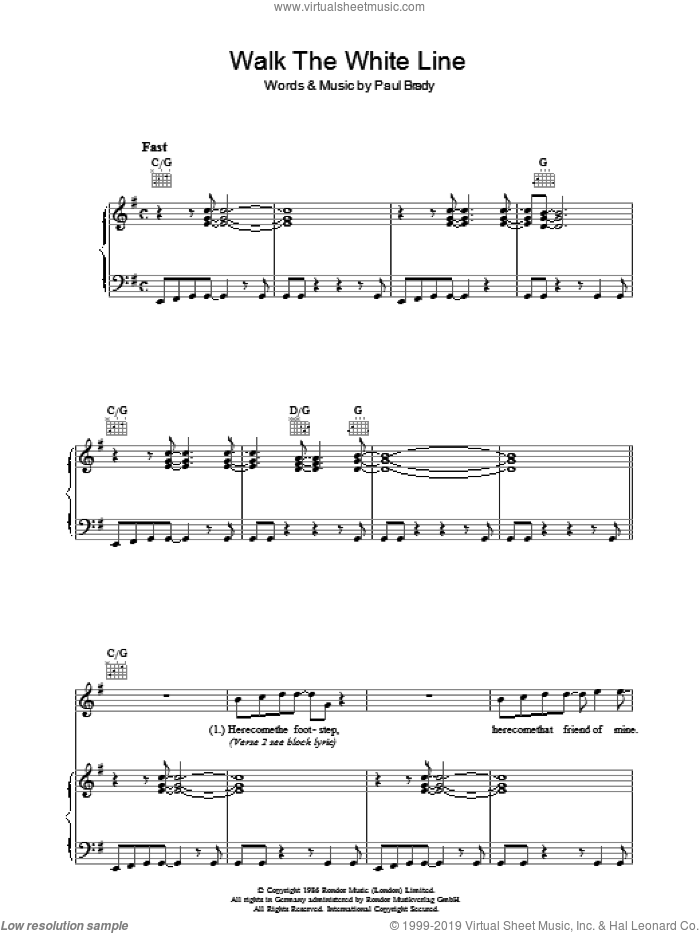 Walk The White Line sheet music for voice, piano or guitar by Paul Brady, intermediate skill level