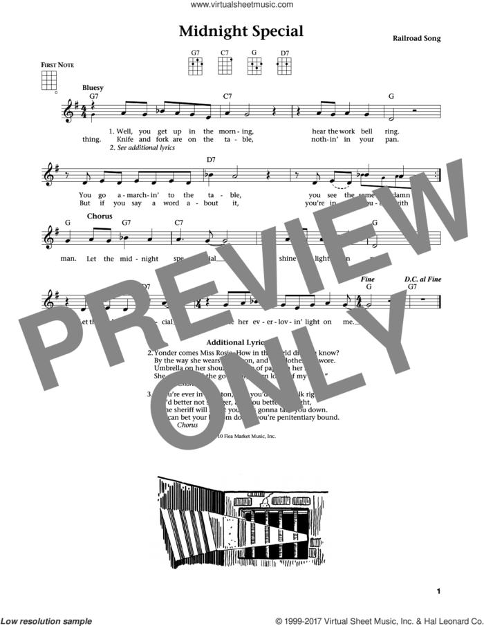 Midnight Special (from The Daily Ukulele) (arr. Liz and Jim Beloff) sheet music for ukulele , Jim Beloff and Liz Beloff, intermediate skill level