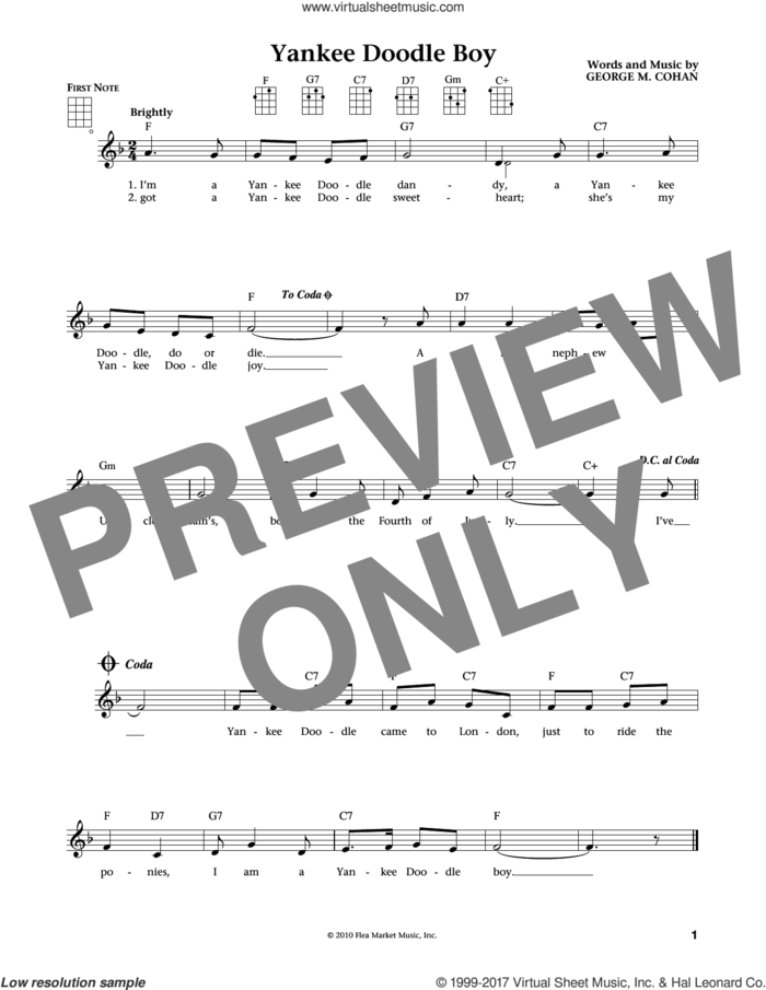 Yankee Doodle Boy (from The Daily Ukulele) (arr. Liz and Jim Beloff) sheet music for ukulele by George M. Cohan, Jim Beloff, Liz Beloff and George Cohan, intermediate skill level