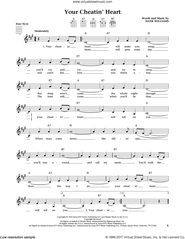 Your Cheatin' Heart (from The Daily Ukulele) (arr. Liz and Jim Beloff) sheet music for ukulele by Hank Williams, Jim Beloff, Liz Beloff and Patsy Cline, intermediate skill level