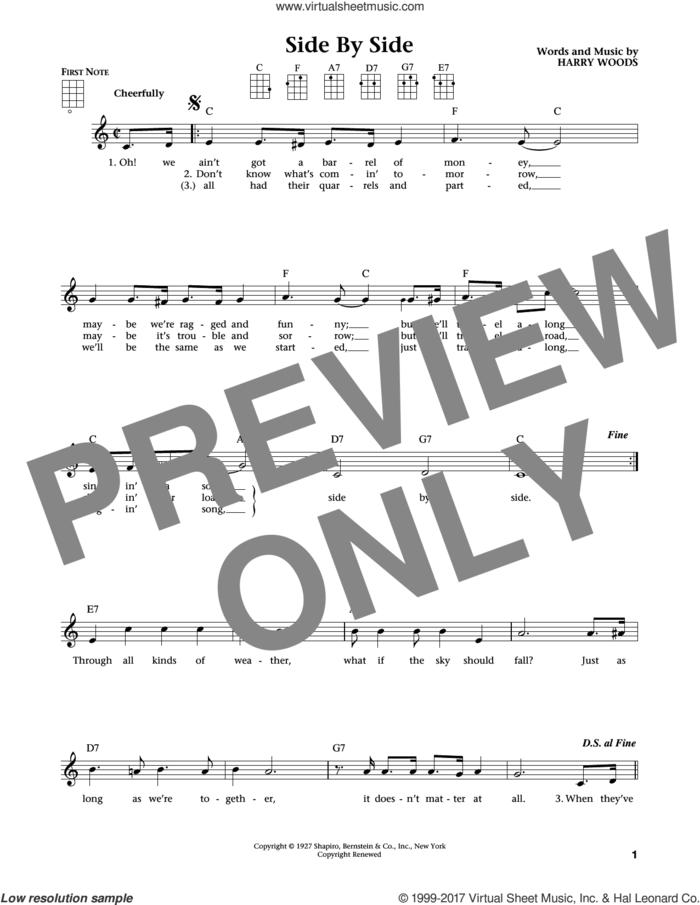Side By Side (from The Daily Ukulele) (arr. Liz and Jim Beloff) sheet music for ukulele by Harry Woods, Jim Beloff, Liz Beloff and Patsy Cline, intermediate skill level