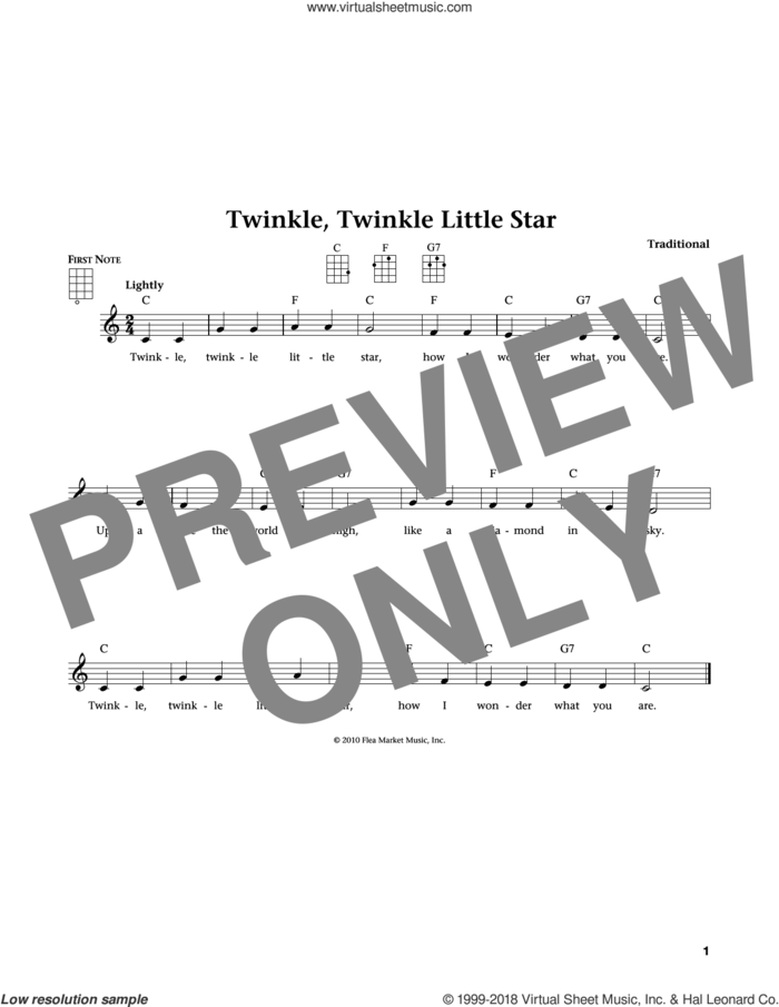 Twinkle, Twinkle Little Star (from The Daily Ukulele) (arr. Liz and Jim Beloff) sheet music for ukulele , Jim Beloff and Liz Beloff, intermediate skill level